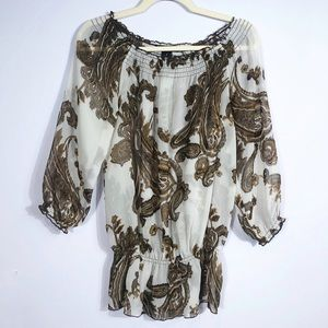 I.N.C. White & Brown Paisley Print Top size 2